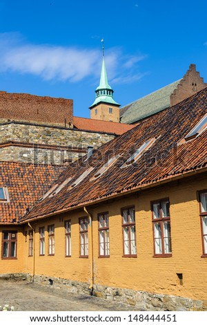 Court yard of the Akershus Castle in Oslo, Norway - stock photo
