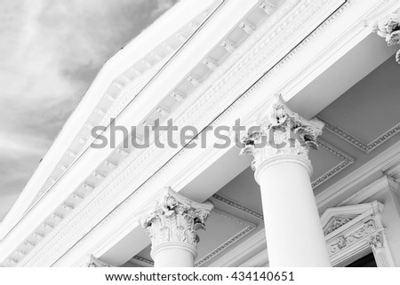 Courthouse facade with columns. Vintage style filter - stock photo