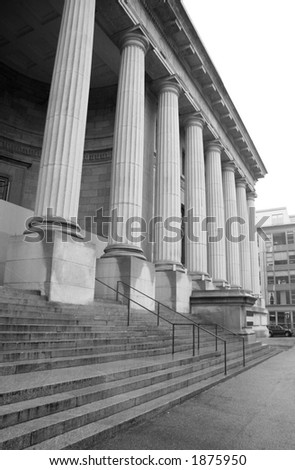 Courthouse Steps and Pillars - stock photo
