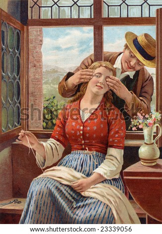 Courting - Man playfully covering the eyes of his girlfriend and asking, 'Guess who?' - a Victorian style illustration, circa 1850 - stock photo