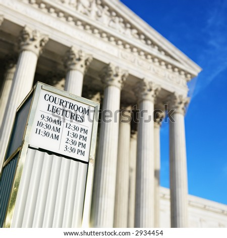 Courtroom lecture schedule sign in front of Supreme Court building in Washington D.C. - stock photo