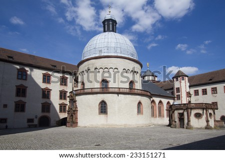 Courtyard and chapel dome of Marienburg castle in Wurzburg, Germany - stock photo