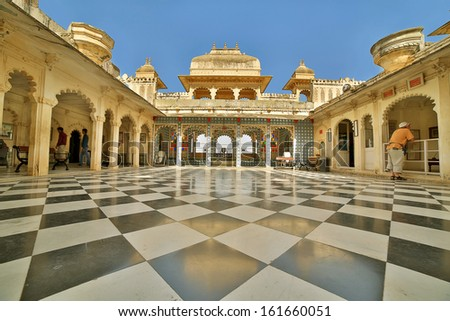 Courtyard at City Palace, Udaipur - stock photo
