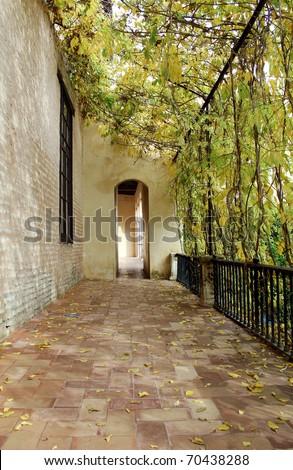 Courtyard at the Real Alcazar Moorish Palace in Seville, Spain - stock photo