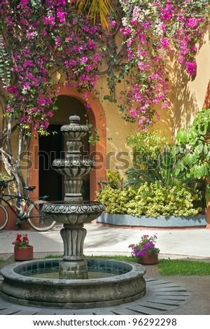 Courtyard Fountain - stock photo