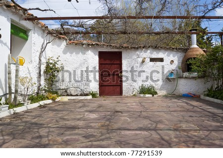 Courtyard in a typical country house in Ciudad Real province, Spain - stock photo