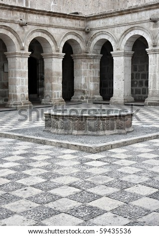 Courtyard in Arequipa Peru - stock photo