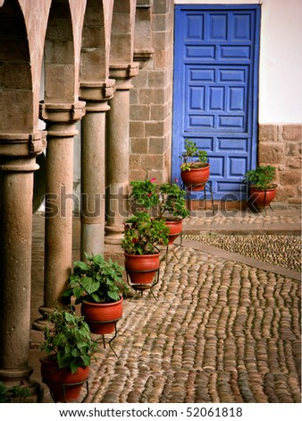 Courtyard in Cusco Peru - stock photo