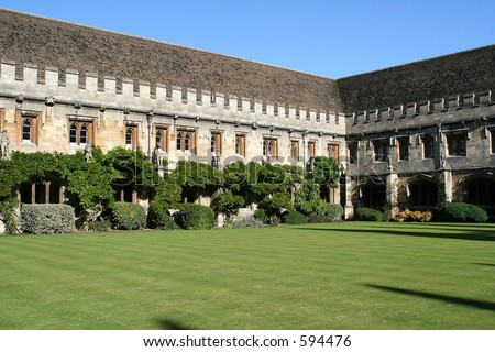 Courtyard in large old building - stock photo