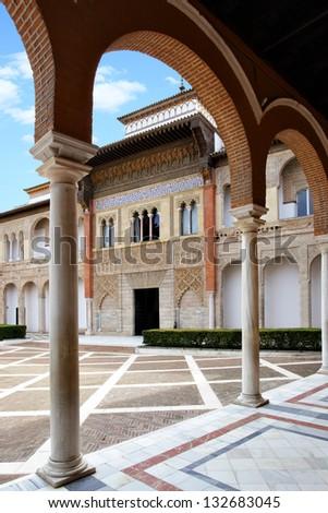 Courtyard in Real Alcazar, Seville - stock photo