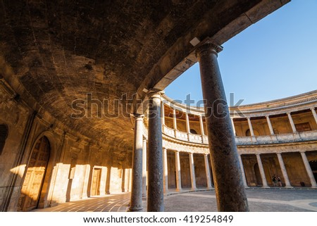 Courtyard in the Alhambra of Granada, Andalusia province, Spain. - stock photo