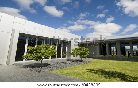 Courtyard inside modern building - stock photo