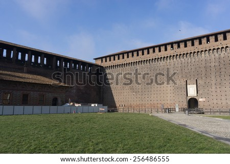 Courtyard inside the Sforzesco castle in Milan, Italy.