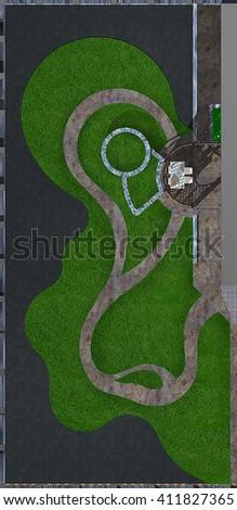 Courtyard master plan, 3d render - stock photo