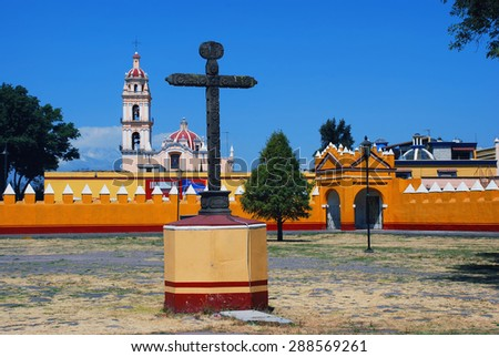 Courtyard of a church in Cholula, Puebla, Mexico. It is a popular touristic destination - stock photo