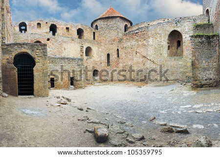 Courtyard of a medieval fortress of Akkerman in Ukraine  near  Odessa - stock photo