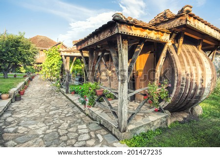 Courtyard of a wine house - stock photo