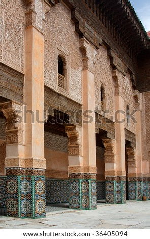Courtyard of Ali Ben Youssef Madrasa, Marrakech, Morocco - stock photo
