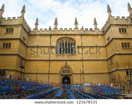 Courtyard of Bodleian library in Oxford, United Kingdom. - stock photo