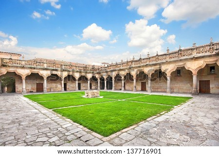 Courtyard of famous University of Salamanca, the oldest university in Spain and one of the oldest in Europe, in Salamanca, Castilla y Leon region, Spain - stock photo
