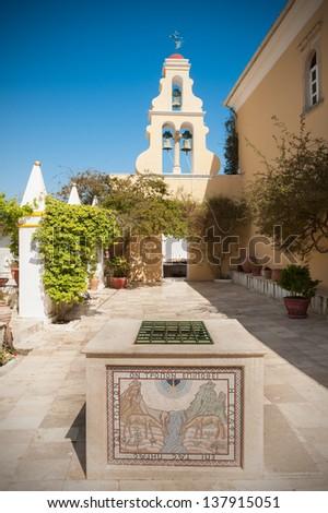 Courtyard of monastery in Paleokastritsa, Corfu (Kerkyra), Greece - stock photo