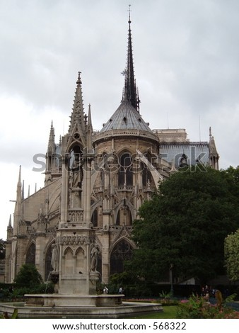 Courtyard of Notre Dame - stock photo