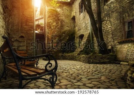 Courtyard of old Tallinn - stock photo
