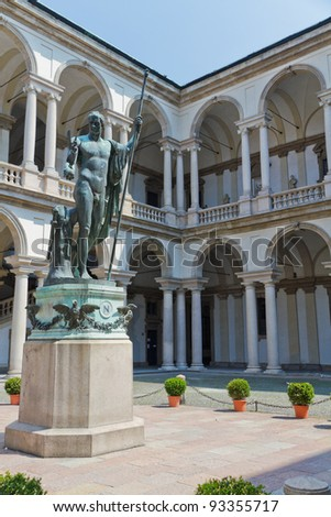 Courtyard of Pinacoteca di Brera, with the Naked Napolean Statue Milan, Italy - stock photo