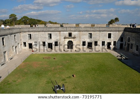 courtyard of the castle of san marcos at historic st. augustine florida - stock photo