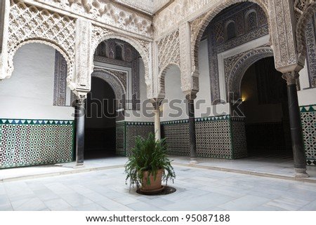 Courtyard of the Dolls in the Royal Alcazar of Seville, Spain. UNESCO World Heritage Site - stock photo