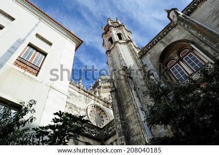 courtyard of The Jeronimos Monastery, Lisbon, Portugal - stock photo