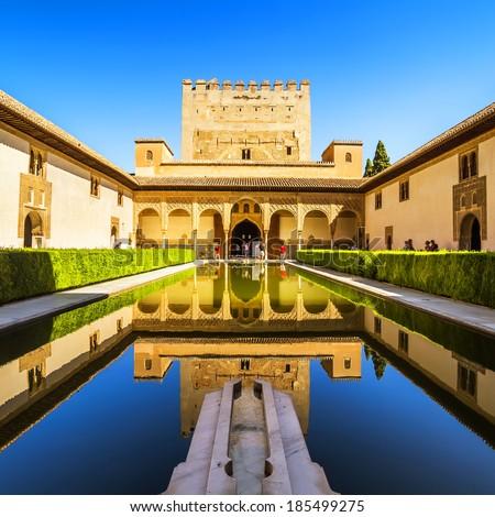 Courtyard of the Myrtles (Patio de los Arrayanes) in La Alhambra, Granada, Spain.  - stock photo