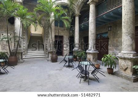 courtyard of the palace of Segundo Cabo in the Plaza de Armas, Havana, Cuba - stock photo