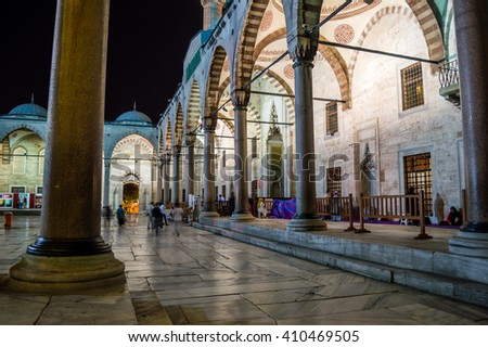 Courtyard of the Sultan Ahmet Mosque (Blue Mosque) in Istanbul, Turkey at night - stock photo