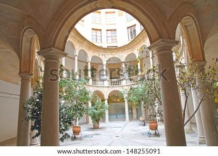 Courtyard Old town of  Palma de Majorca Balearic islands Spain - stock photo