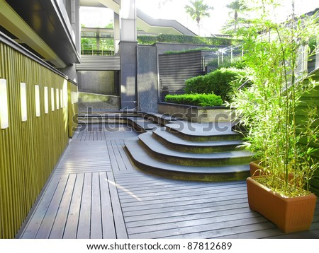 Courtyard outside the building - stock photo