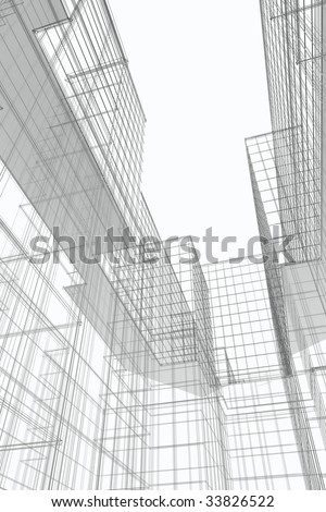 Courtyard view of modern office building, 3d wireframe - stock photo