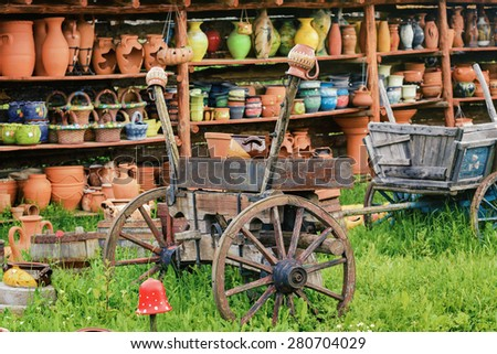 Courtyard With Different Kinds of Ceramics - stock photo