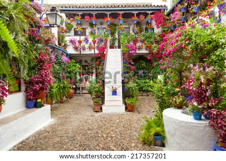 Courtyard with Flowers decorated  - Cordoba Patio Fest, Spain, Europe - 10 of May, 2013 - stock photo
