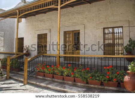 Courtyard with flowers in Arequipa, Peru.