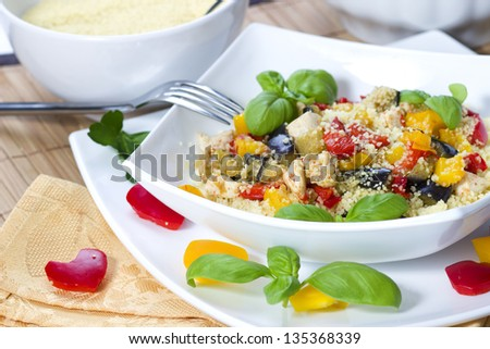 Couscous dish with mixed vegetables - stock photo