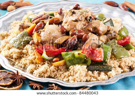 couscous marocain wih chicken - stock photo