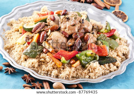 couscous marocain with chicken - stock photo