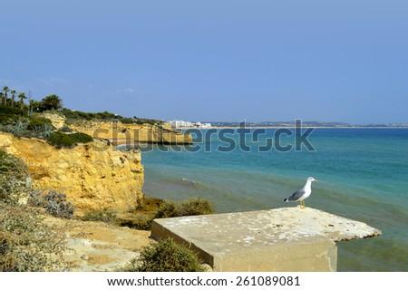 Cova Redonda Beach, Armacao De Pera, Algarve, Portugal - stock photo