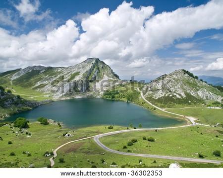 Covadonga Lakes in Asturias, Spain - stock photo