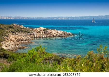 Cove at Santa Maria island in Maddalena Archipelago in Sardinia - stock photo