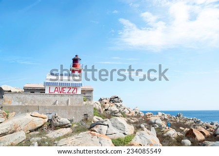 Cove of the Lighthouse on the Lavezzi Island, Corsica France - stock photo