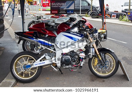 COVENTRY, UK - JUNE 4: A modern Suzuki race motorcycle stands on display for the public to view at the MotoFest weekend event on June 4, 2017 in Coventry