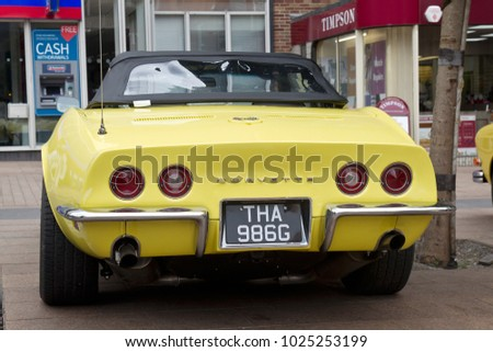 COVENTRY, UK - JUNE 4: A vintage Corvette sports car stands on display for the public to view during the MotoFest weekend event on June 4, 2017 in Coventry