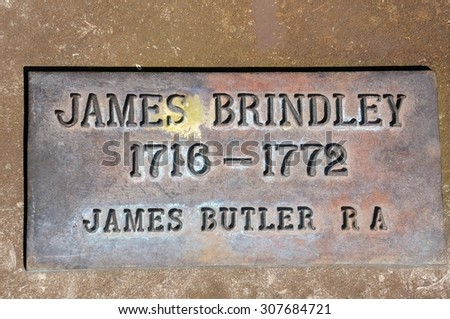 COVENTRY, UNITED KINGDOM - JUNE 4, 2015 - James Brindley memorial plaque in the canal basin, Coventry, West Midlands, England, UK, Western Europe, June 4, 2015.